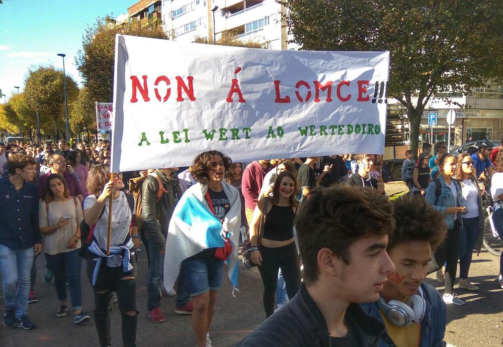 Una de las manifestaciones celebradas en Vigo contra la Lomce
