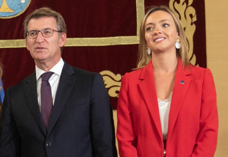 El presidente Feijóo y la conselleira de Política Social, Fabiola García