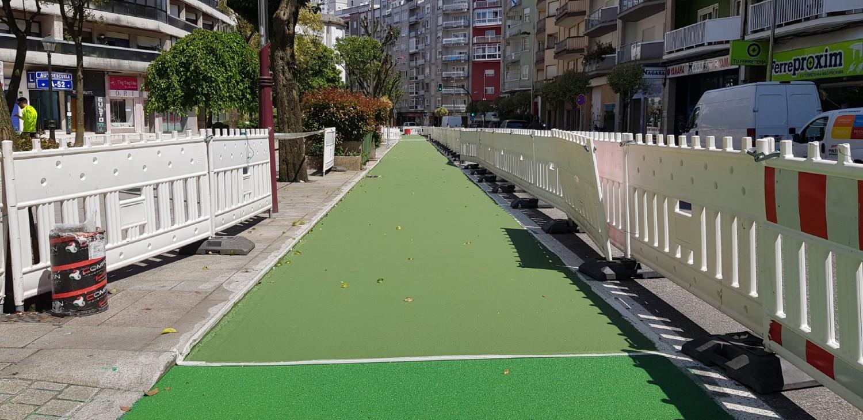 Carril bici de Vigo a su paso por la calle Pizarro