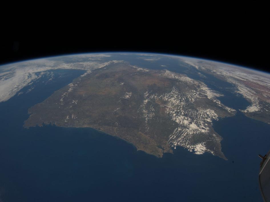 La península Ibérca vista desde la Estación Espacial Internacional