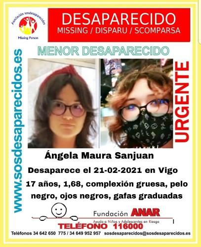 Ángel Maura Sanjuan joven desaparecida en Vigo