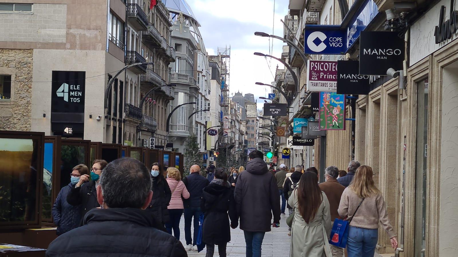 Calle Príncipe, en el centro de Vigo, sábado 6 de febrero 2021/vigoalminuto