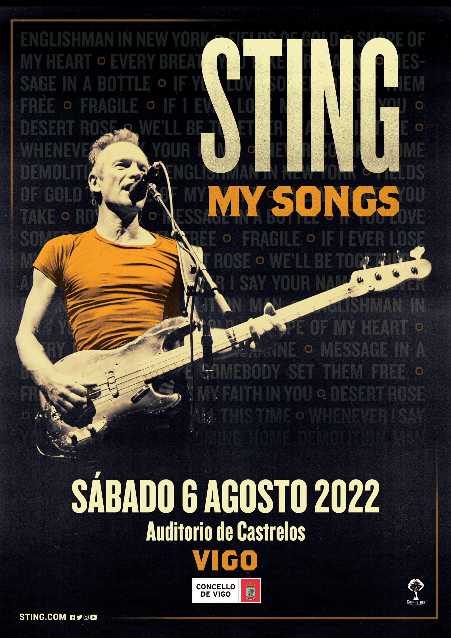 Sting cantará en Vigo el 6 de agosto de 2022