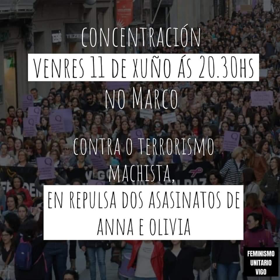 Concentración hoxe en Vigo en repulsa polo asasinato de Anna e Olivia