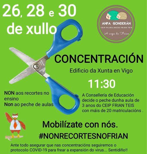 Concentración en Vigo para evitar el cierre de un aula de 3 años del CEIP Frián-Teis