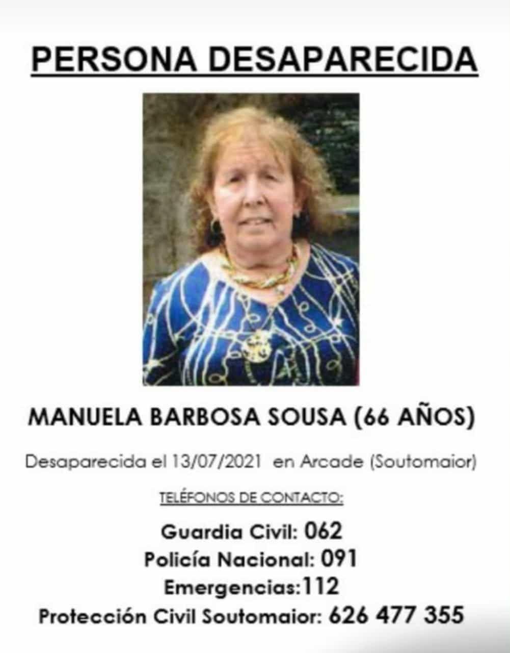 Piden máxima colaboración para localizar a Manuela Barbosa, desaparecida una semana