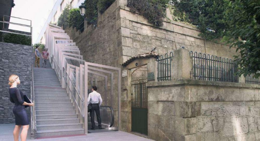 En marcha la nueva escalera mecánica de la rúa Talude